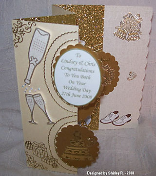 Shirley r front of wedding card