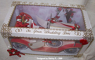 Red and white colin car 6 by shirley r