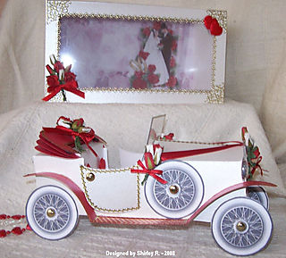 Red and white colin car 2 by shirley r