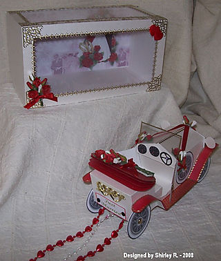 Red and white colin car 5 by shirley r