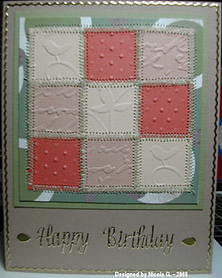 Nicole G Cuttlebug quilted card