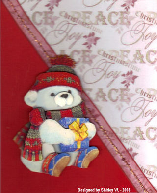 SHirley W xmas card made with Craftynikky's bear