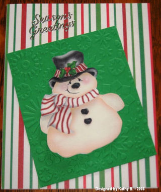 Kathy B's snowman on green CB snowflakes