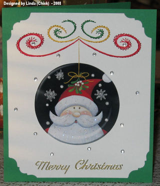 Linda (Chick) Santa Medalion Cards for family