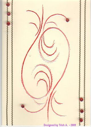 Trish A red stitched card.