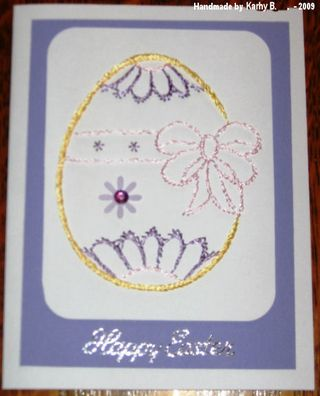 Kathy B's-Lavendar and pink stitched egg