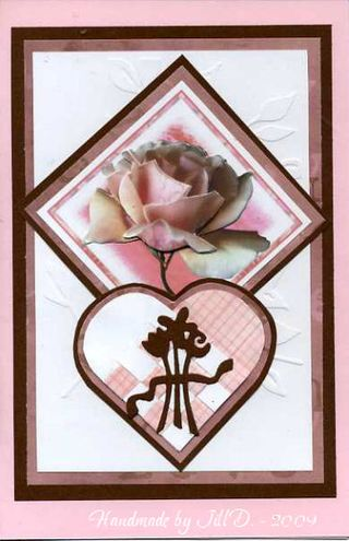 Jill D pink and brown rose card073