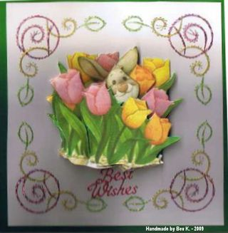 Bev K Nikkis Easter bunny in tulips & stitching
