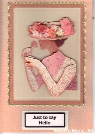 Shirley W lace lady from Nikky on peach card.