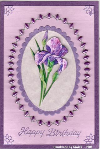 Kiwiali Mauve iris beaded border