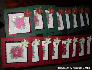 Glenys H 09 oct - poinsettia stamped cards