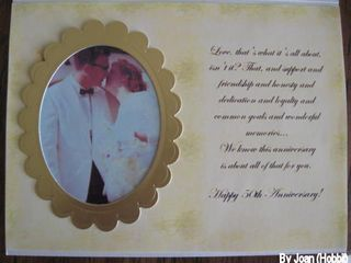 Pat & John 50th card with Wedding picture inside by Joan(Hobbit)