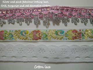 Silver and pink fabulous looking lace n cotton lace