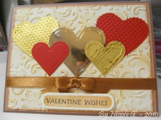 5 hearts valentine card