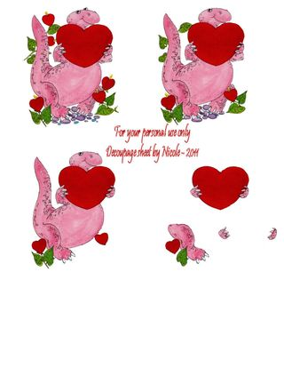 Dino-heart decoupage sheet - Nicole
