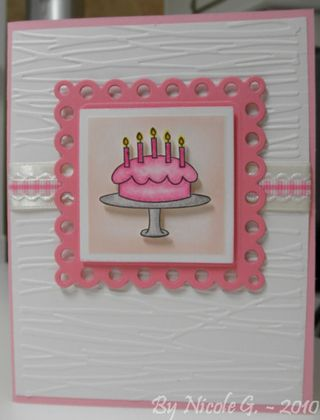 Nicole G Birthday cake in pink card