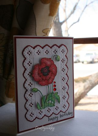 Craftynikky Happy Birthday poppy card 1