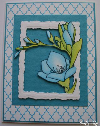 Craftynikky blue flower card 5