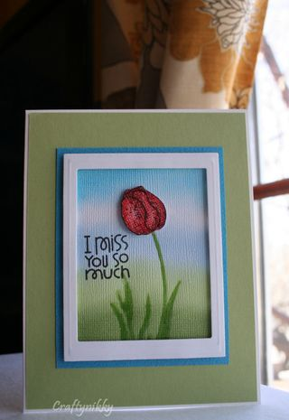 Craftynikky I miss you so much tulip card 1