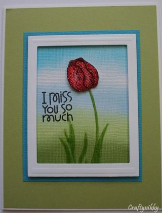 Craftynikky I miss you so much tulip card 3