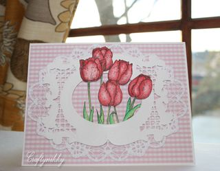 Craftynikky red tulip card 1
