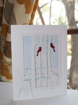 Craftynikky Christmas birch trees and deers 1