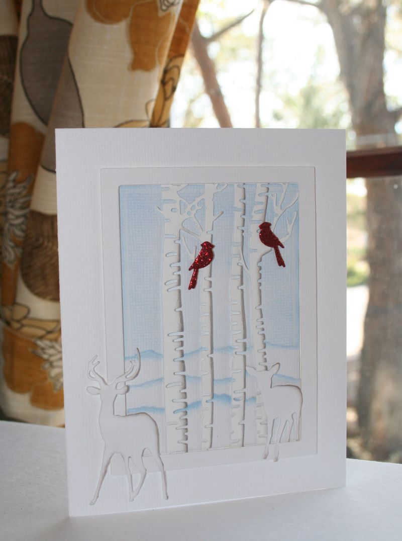 Craftynikky Christmas birch trees and deers 5