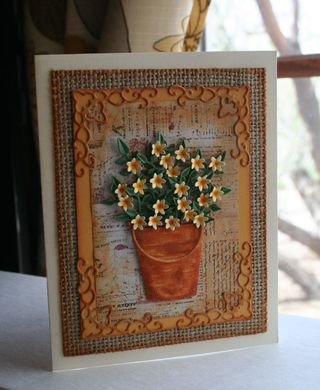Craftynikky Burlap pail and flowers 2
