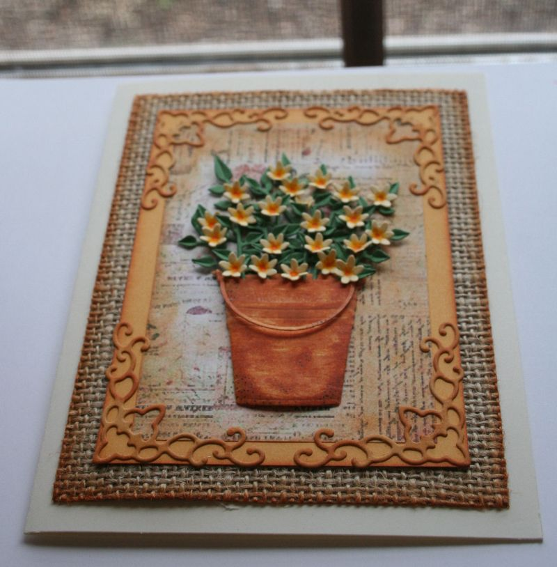 Craftynikky Burlap pail and flowers 5