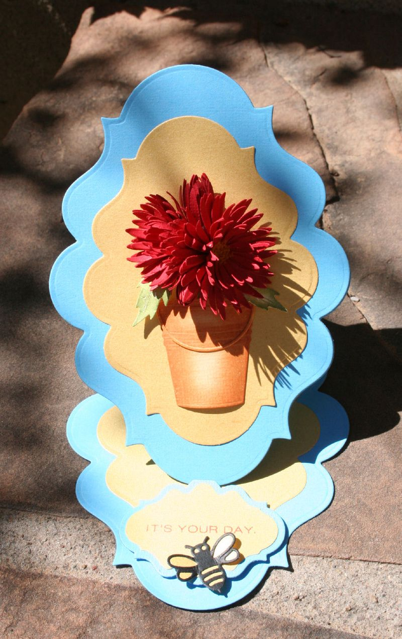 Craftynikky Chrysanthemum in bucket easel card 2