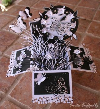 Craftynikky B&W butterfly card in a box 1