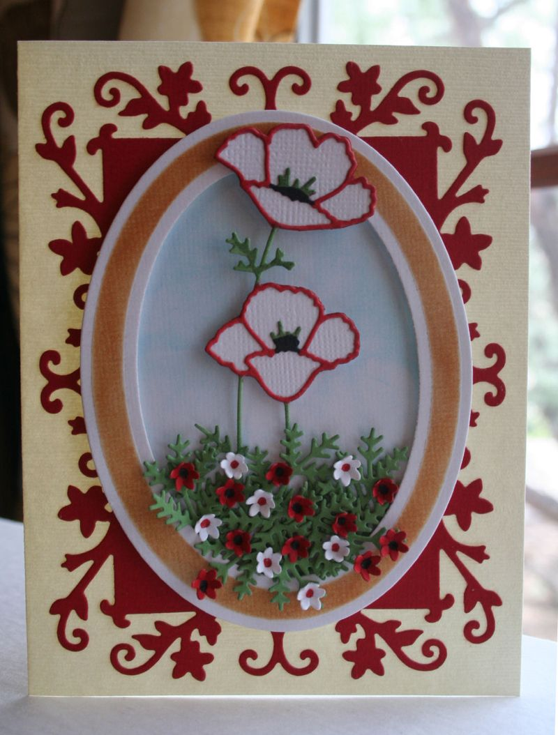 Craftynikky Darling poppies card 1